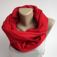red fleece scarf ,infinity scarves ,chunky infiniti scarf ,winter fashion scarf ,eternity circle , gift ideas