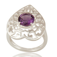 Natural Amethyst Round Cut Gemstone Sterling Silver Heart Design Cocktail Ring