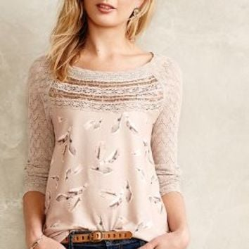 Aves Lace-Trimmed Pullover by one.september Taupe