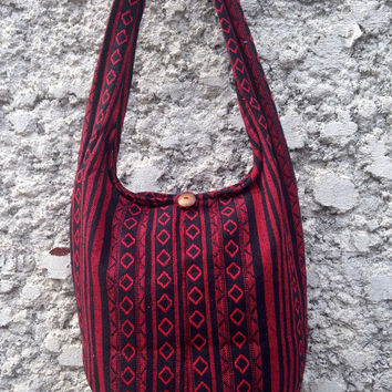 Crossbody Shoulder Bag Sling Hippie Hobo Boho Fashion Unisex Yam Diaper Tote Tribal Woven Handwoven Aztec Cross body Beach School labtop Red