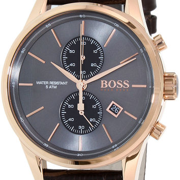 Hugo Boss Jet Black / Rose Gold / Brown Leather Analog Quartz Chronograph Men's Watch 1513281