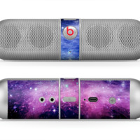 The Purple and Blue Scattered Stars Skin for the Beats by Dre Pill Bluetooth Speaker