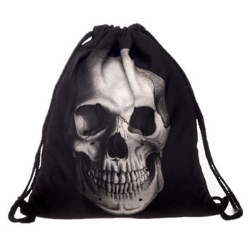 New 3D Printing Character Black Skull Mochila Feminina Backpack Women daily Fashion Casual Drawstring Bag Girl