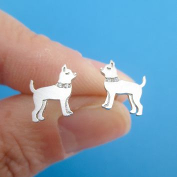 Chihuahua with Rhinestone Collars Shaped Stud Earrings in Rose Gold Silver or Gold