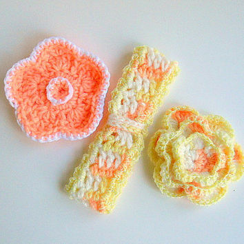 Toddler Girl Headband Hair Clip Set Peach Flowers Crochet Brooch Pastel Orange Yellow White  1 - 2 Years Old Photo Prop Baby Hair Clips