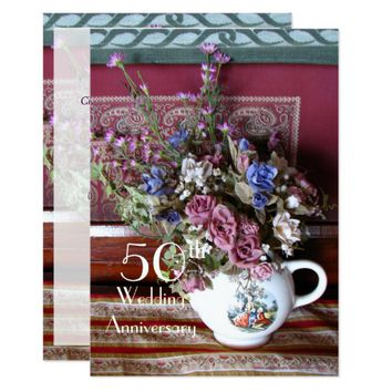 50th Wedding Anniversary Invitation Vintage Teapot