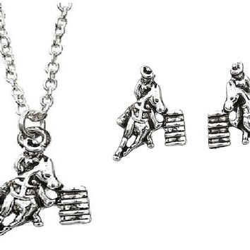 Barrel Racer Necklace & Earring's Set