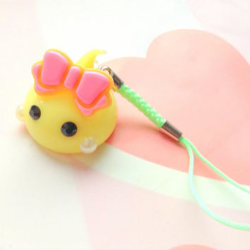 Yellow Hoppe Chan Anime Dust Plug, Kawaii Phone Charm, Cute Keychain, Anime Phone Strap, Tamagotchi, Fairy kei, Silicone Charm, Pink Ribbon