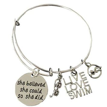 Girls Swim She Believed She Could So She Did Bracelet