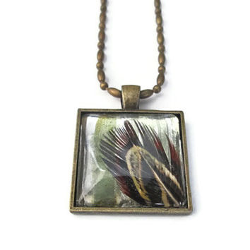 Real Feather Necklace in square antiqued brass with glass dome tile, altered art vintage style pendant, brown boho jewelry