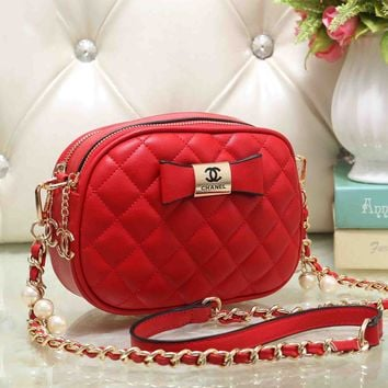 Chanel Cute Bow Mark PU&Metal Shoulder Bag Women Girl Small Round Bag B-OM-NBPF Red