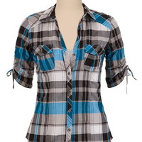 Cinched SleeveButton Front Plaid Shirt