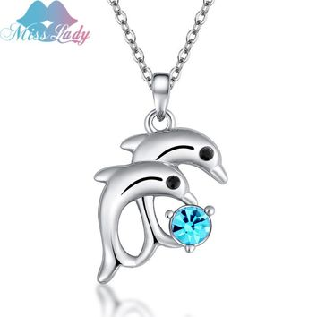 Miss Lady New Animal Necklace Jewelry Beautiful Dolphin Rhinestone Crystal Pendants For Women Accessories SY-N2772