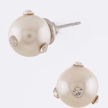 Pearl & Crystal Dollop Earrings