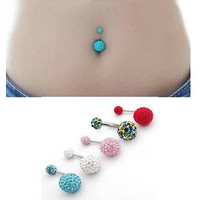 1pcs Navel Belly Button Bar Ring Crystal Ferido Body Jewelry Piercing