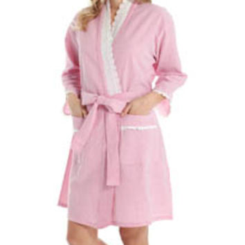 Eileen West 5115929 Beach Bliss Seersucker Short Wrap Robe
