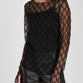 GUCCI GG embroidered tulle top