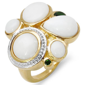 14K Yellow Gold Plated 4.81 Carat Genuine Ethiopian Opal & Chrome Diopside .925 Sterling Silver Ring