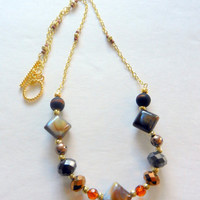 Brown, Gold and Copper Beaded Chain Necklace
