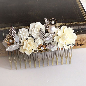 Bridal Hair Comb Silver Ivory Gold White Wedding Headpiece Chic Victorian The Great Gatsby Vintage Style Gothic Woodland Rustic Big Comb JW