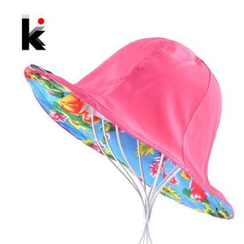ONETOW Summer Floppy Sun Hat For Women Flower Patten And Solid Color Two Side Use Beach Hats Foldable Bucket Cap Sombreros Mujer Verano