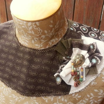 Detachable Fabric Collar in Brown with Owl Detail Hand Crafted Capelet Shrug Bib