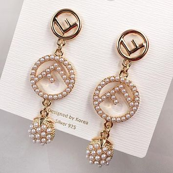 Fendi Fashion New Letter More Pearl Long Earring Accessories Women