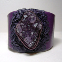 Adjustable purple  leather bracelet cuff with Natural Amethyst crystal