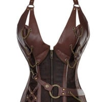 Sexy Brown Steel Bone Faux Leather Steampunk  Gothic Corset Lingerie Basque