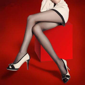 Fashion New Women Silk Stockings Pantyhose Ribbed Over Sexy Slim Tights Absorbent Breathable Ultrathin Elastic 8QR381
