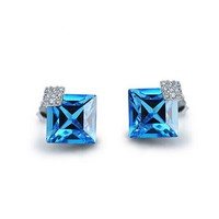 Elegant Square Swarovski Elements Crystal Earrings