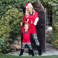Christmas Mother daughter Batwing Sleeve Solid Red Matching Top