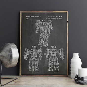 Devastator, Action Figure Print, Toy Room Nursery, Play Room, Toy Room Wall Decor, Transformers Print, Robot Print, Patent, INSTANT DOWNLOAD