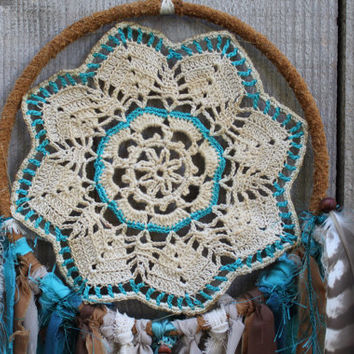 Handmade Large Three Feathers Doily Dream Catcher