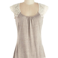 Festival Mid-length Cap Sleeves Grace and Lace Top in Sand by ModCloth