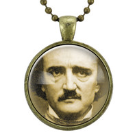Gothic Edgar Allan Poe Necklace, Handmade Goth Cameo Jewelry, Steampunk Pendant