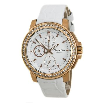 Kenneth Cole KC2804 Womens New York White Dial White Leather Strap Crystal Watch