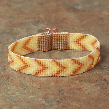 Desert Yellow Beaded Chevron Bracelet