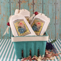 FLOWER PACKET seed bag's, French Lavender and Cedar sachet's, drawstring sachet's, drawstring bag's, small cotton bag's