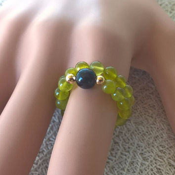 Natural olive Jade & black ONYX SET OF 2 stretch rings