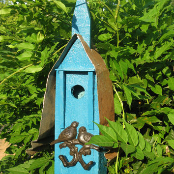 Mission Style Reclaimed Wood Birdhouse In Seafoam With Ornamental Double Bird Perch