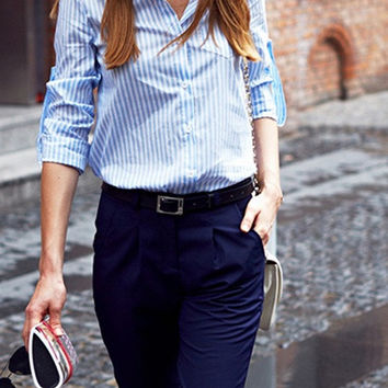 Classic Blue and White Stripe Button Up Shirt