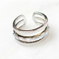 Layered Crystal Ring Silver