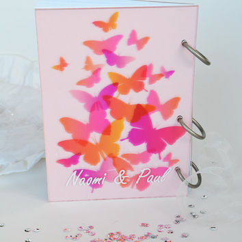 Wedding Guest Book Modern design Transparent organic glass, Personalized with names Pink Butterflies