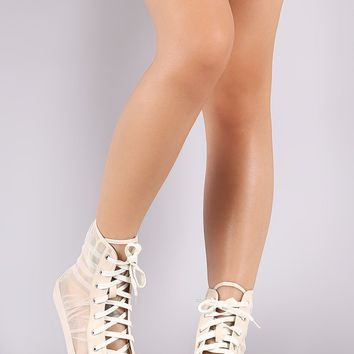 Pleated Sheer Mesh Combat Lace-Up Booties
