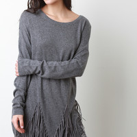 Suede Fringe Long Sleeves Sweater Dress