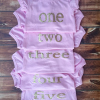 BIRTHDAY! Little girls pink with lettering, age, birthday party shirt, photo prop, pictures, outfit, age, two, three, four, five, chic