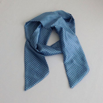 Blue Polka Dots Satin Long Scarf, Holiday Gift for Teen Teal Bow Scarf,Christmas Gift for Sister 10 Camera Strap Satin Scarf