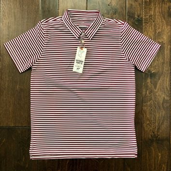 Southern Point Co - Crimson Striped Performance Polo