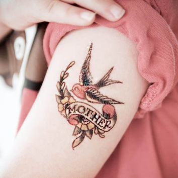 Mother Swallow Traditional Temporary Tattoo